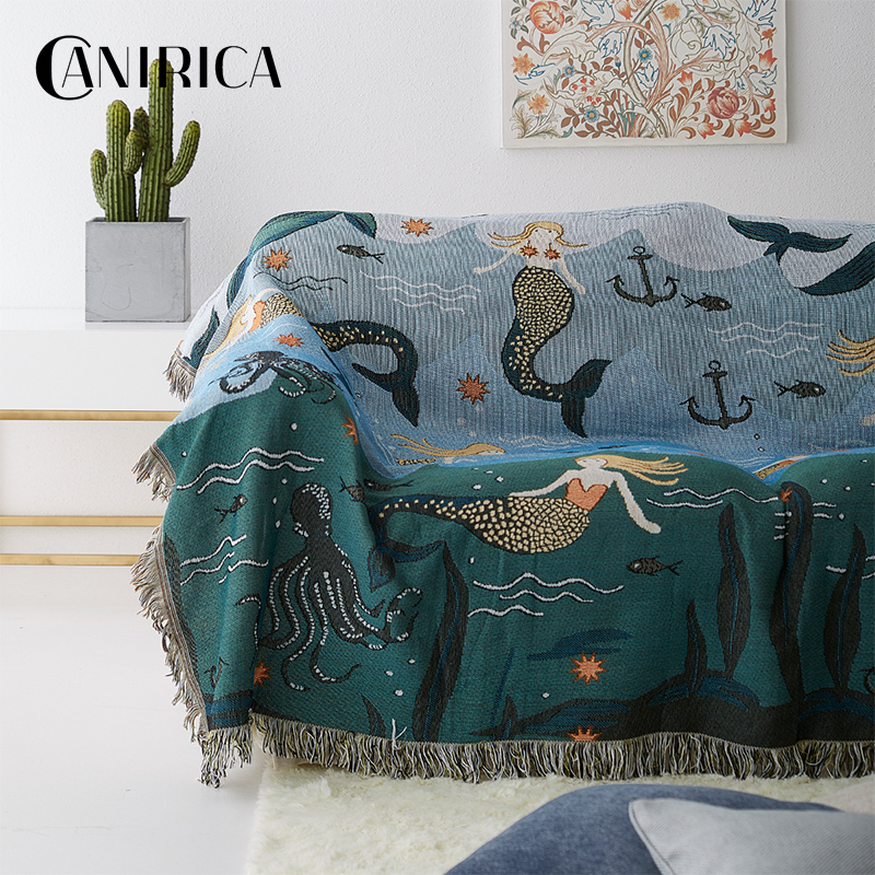 CANIRICA Throw Blanket Sofa Throw Hanging Tapestry For Sofa Bed With Tassel Blankets For Beds Nordic Home Decor Bohemia Mermaid