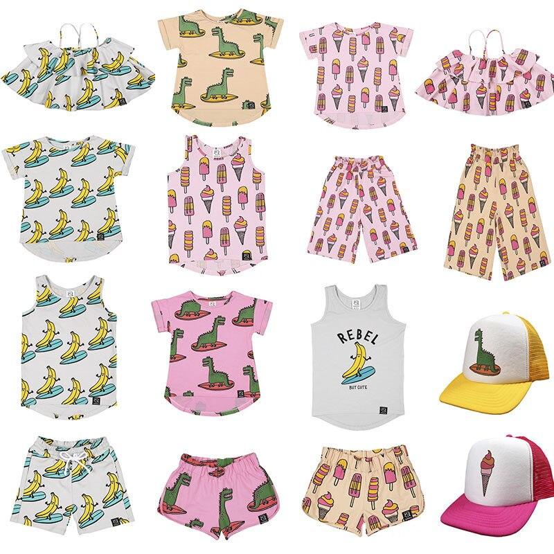 EnkeliBB KUKUKID Kids Summer Banana T Shirt And Vest Toddler Fashion Top Boys Girls Ice Cream Pattern Short Sleeve Tshirts