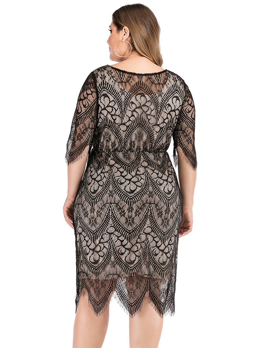 Elegant O Neck Half Sleeve Lace Floral Midi Dress Plus Size 7