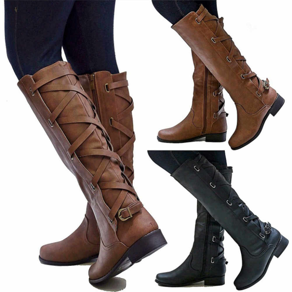 Women Leather Knee High Boots Fashion Cross Strap Winter Low Heels Long Boots Western Side Zipper Buckle Black Motorcycle Boots