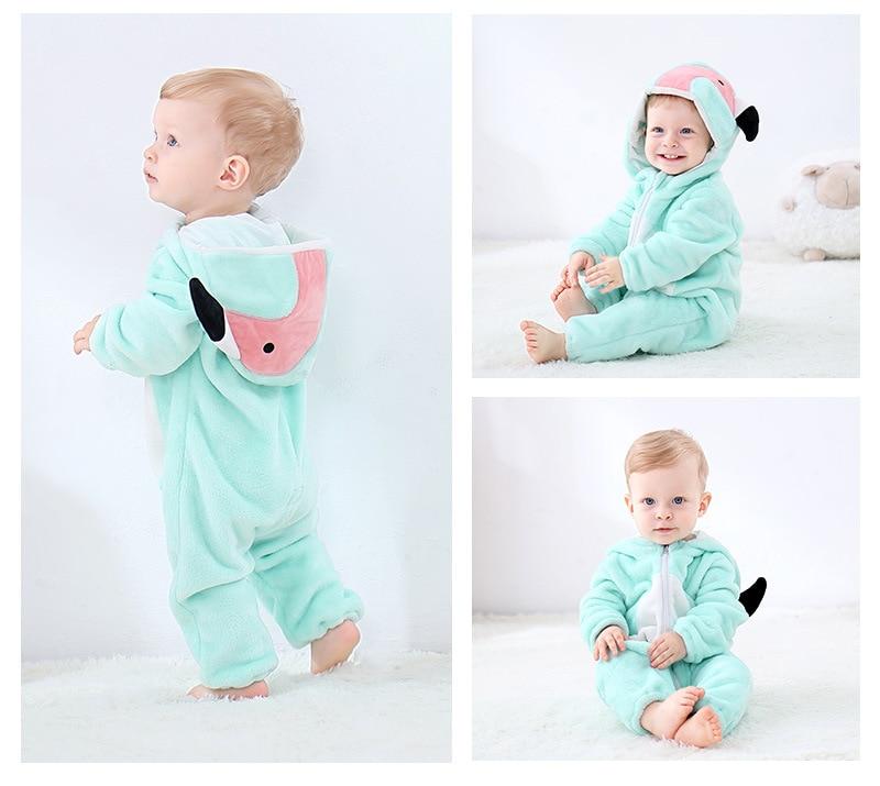 H50b29f66c1bf44b387e6d82ee892b91cv Cute Cartoon Flannel Baby Rompers Novelty Rabbit Cotton Baby Boys Girls Animal Rompers Stitch Baby's Sets kigurumi New born 2019