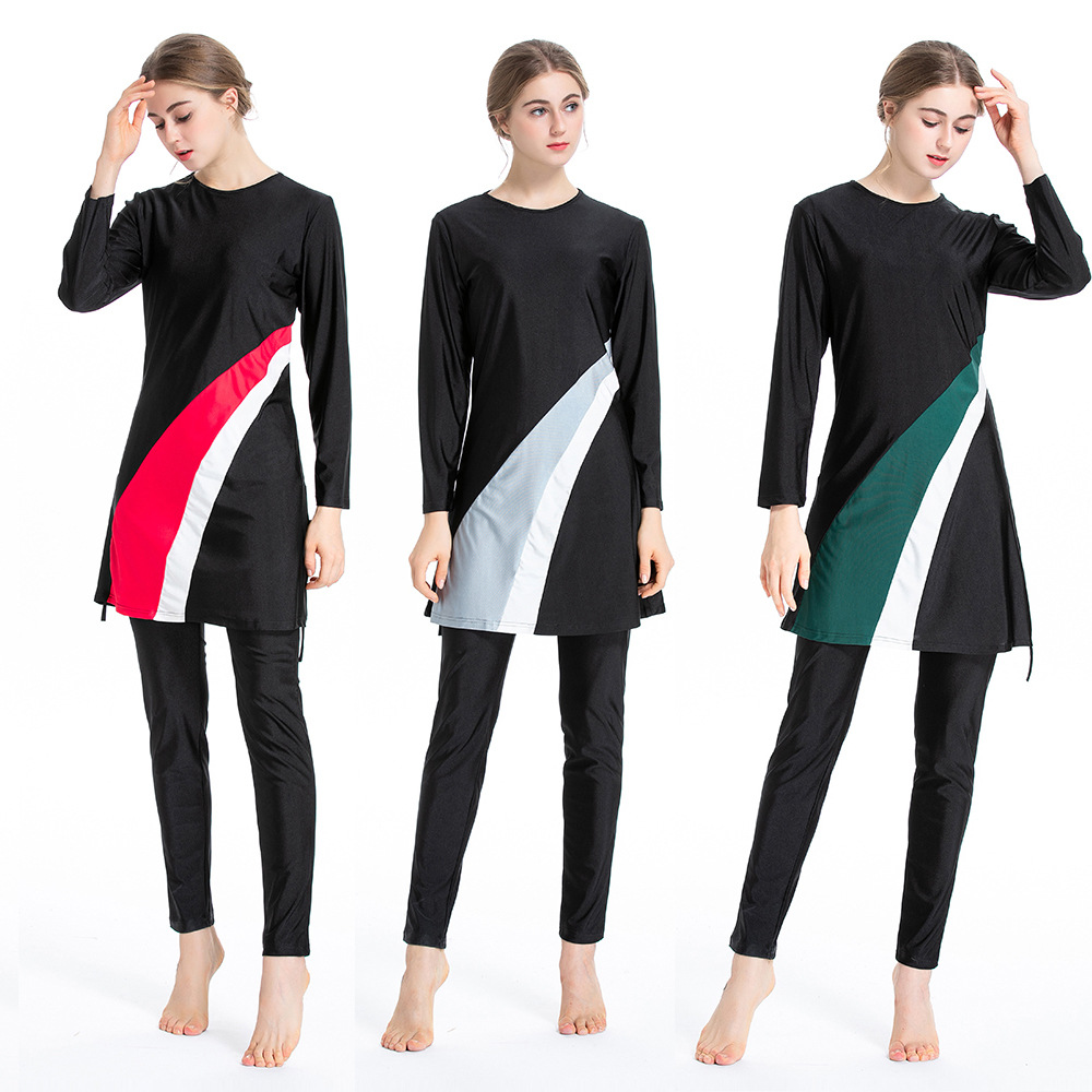 Muslim Conservative Swimsuit Hui Middle East Three Sportswear Suit Swimsuit Set Full Cover Islamic Swimsuite