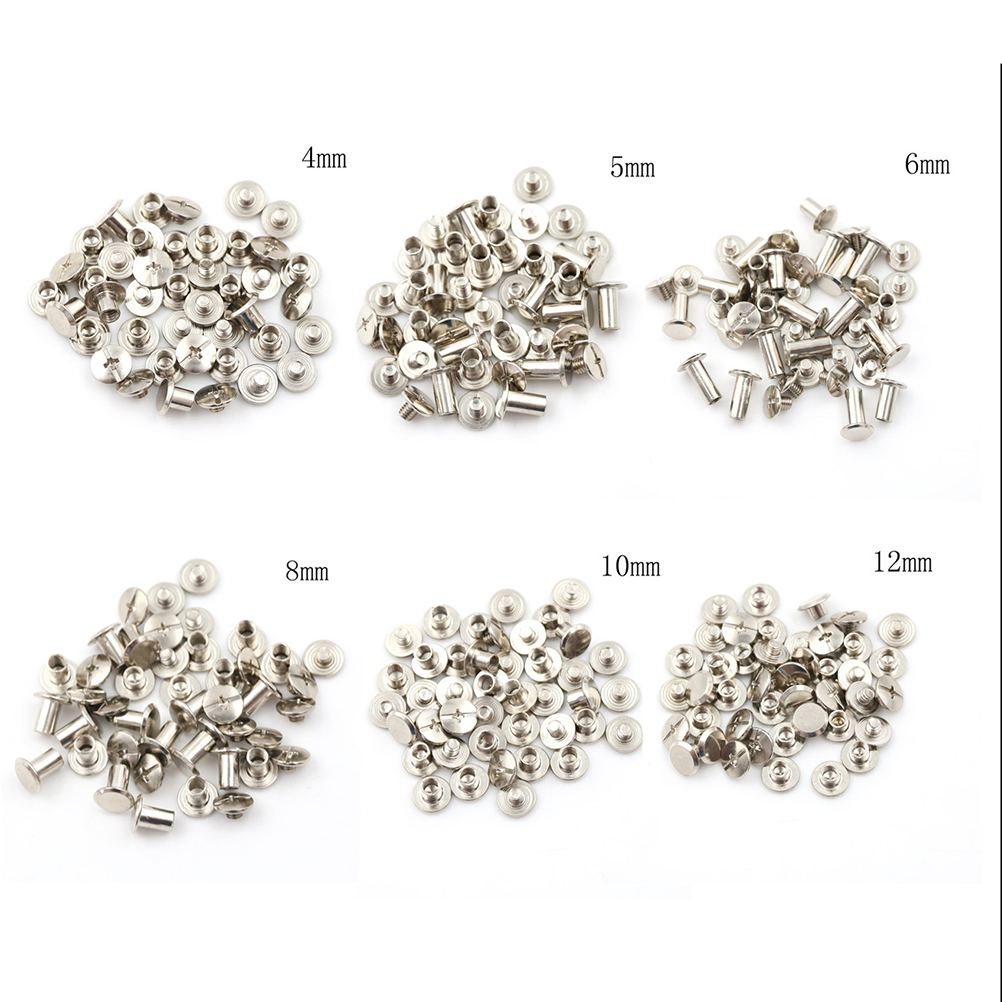 20PCS Nickel Binding Screws Nail Rivets For Bag Parts Accessories 5x6mm  M5*12mm M5*10mm  M5*8mm  M5*6mm M5*5mm M5*4mm 6Sizes