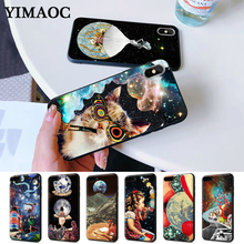 Trippy Art aesthetic Space astronaut Silicone Case for iPhone 5 5S 6 6S Plus 7 8 11 Pro X XS Max XR