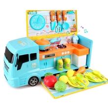 Food-Truck Kids for 2-In-1 with Cooking-Food-Lights Sounds 33pcs Toy Kitchen-Set Kitchen-Set