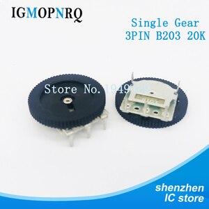 10PCS/LOT 16*2mm Single Gear tuning potentiometer B203 20k 3Pin Dial Potentiometer