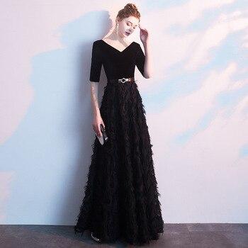 Elegant Black Half Sleeve Evening Party Gown Lady Qipao Full Length Formal Party Dress  Novelty Vestidos De Festa PLUS SIZE