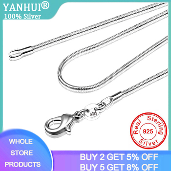 Long 16-28inch (40-80cm) 100% Authentic Solid 925 Sterling Silver Chokers Necklaces 1mm Snake Chains Necklace For Women CN001