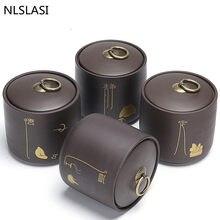 NLSLASI chińska gruba ceramika puszki na herbatę przenośna Pu'er zielona herbata zamknięte puszki zbiorniki ceramika podróż liść herbaty Box