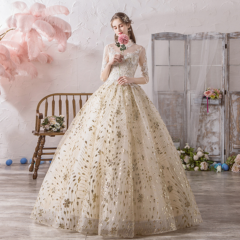 Classic Chinese Style High Neck Half Sleeve Champagne Wedding Dress Luxury Lace Embroidery Princess Ball Gown Robe De Mariee L