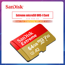 SanDisk Extreme Micro SD Card 32GB 64GB 128GB 256GB UHS-I U3 V30 A2 Class 10 Memory Card microsd TF Flash Card for Smartphone