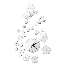 Hot Sales Mirror Wall Stickers 3D Clock Butterfly Pattern Home Decoration Contemporary Quartz Living Room Clock room decoration flower rattan butterfly pattern wall sticker