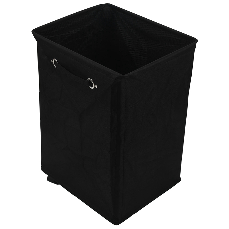 Dirty Clothes Laundry Basket Foldable Storage Basket with Wheel for Office Waterproof Oxford Bathroom Laundry Hamper Black