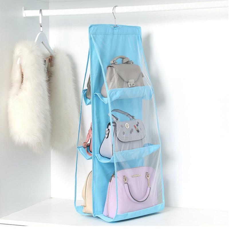 6 Pocket Hanging Handbag Organizer for Wardrobe Closet Transparent Storage Bag Door Wall Clear Sundry Shoe Bag with Hanger Pouch 3