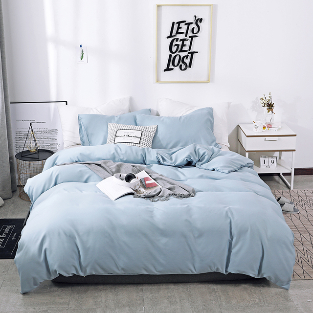 Solid Color Sanding Polyester Bedding Set 2/3PCS Duvet Cover Set,Comfortable Bed Linens (No Fitted Sheet) Home Textile 1