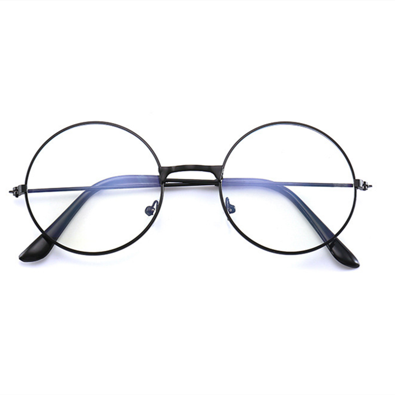 1pc Vintage Round Metal Frame Blue-Light Blocking Eye Glasses Personality College Style Clear Lens Eye Protection Phone Game