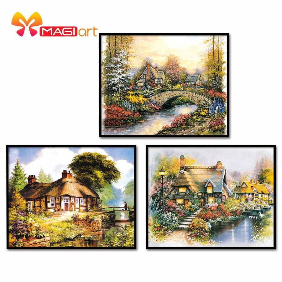 Kruissteek kits Borduren handwerken sets 11CT water oplosbare canvas patronen 14CT Landschap schilderen Sprookje Cabin-NCMS029