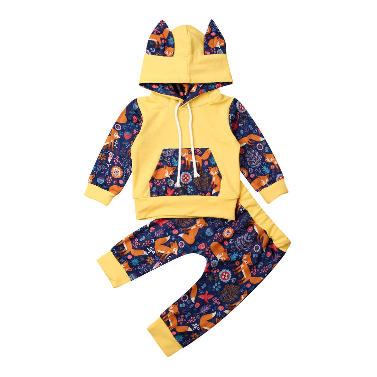 Newborn Baby Boy Girl Fox Hooded Tops Pants Leggings Outfits Clothes Tracksuit