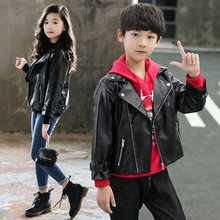 Children PU Leather Jacket for Kids Cool Jacket Casaco Baby Boys and Girls Winter Leather Coat Kids Spring Fall  Solid Outerwear цена в Москве и Питере