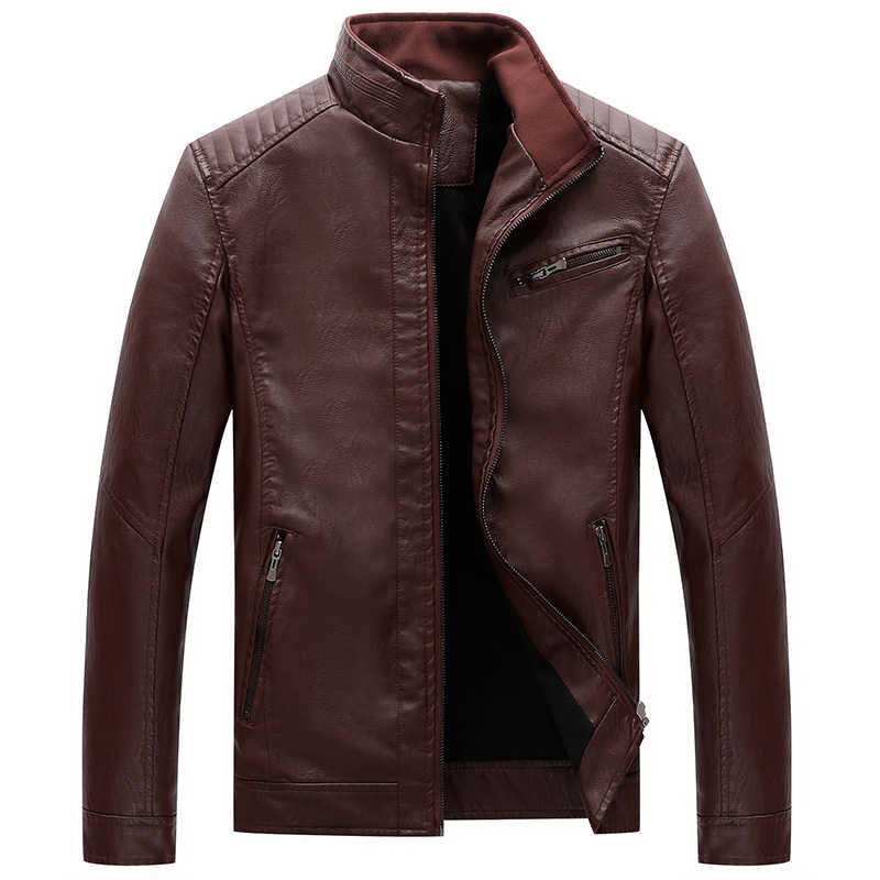 Модная зимняя куртка мужская Высококачественная бархатная теплая куртка с воротником-стойкой ветрозащитная байкерская куртка из искусственной кожи Hombre большого размера L-5XL