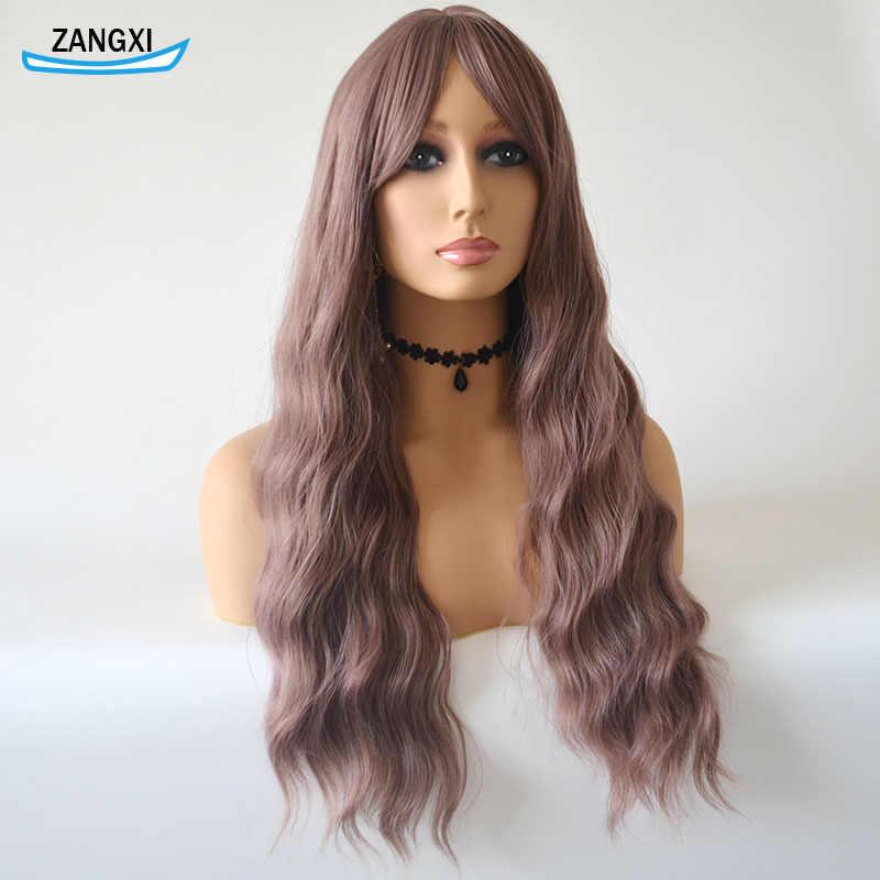 24 Inch Ungu Muda Wig untuk Wanita Air Gelombang Wig dengan Poni Suhu Tinggi Serat Rambut Wig untuk Setiap Hari dan Cosplay