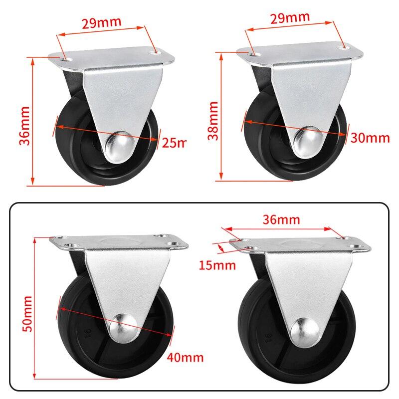 80kg4pcs rodas rodízios móveis rodízios rodízios de borracha macia roda de rolo prata para plataforma cadeira do trole acessórios domésticos-4