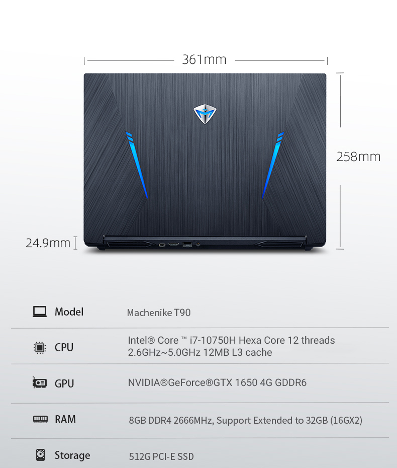 Machenike T90 Newest Gaming laptop i7 10750H GTX1650 Computer Laptops 16GB RAM 512G SSD 1T HDD 15.6'' 6mm Border IPS Notebook