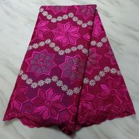 5Yards/pc Gorgeous fuchsia embroidery african cotton fabric swiss voile dry lace for clothes BC76 2