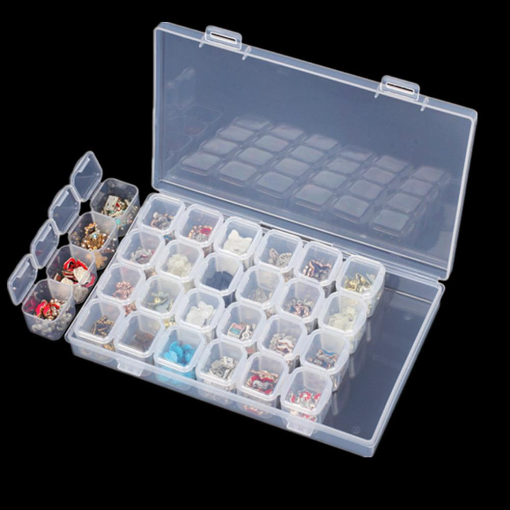 Transparent 28 Slots Plastic Empty Storage Box Jewelry Display Storage Box Organizer Case Rhinestone Tools