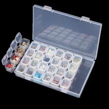 Transparent 28 Slots Plastic Empty Storage Box Jewelry Display Organizer Case Rhinestone Tools