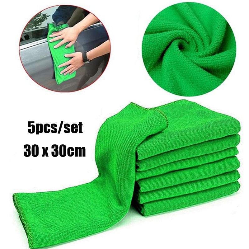 5pcs/set 30 X 30 Cm New Cloths Cleaning Duster Microfiber Car Wash Towel Auto Care Tools