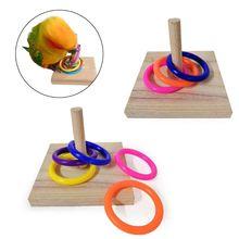 Chew-Toys Platform-Rings Training-Supplies Bird Parrot Wood C42 Educational-Toy Intelligence
