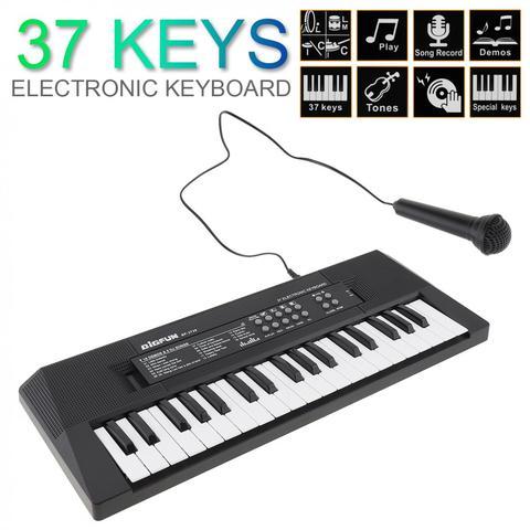 Chaves de Teclado Chave da Música com Microfone Eletrônico Piano Digital Placa Crianças Presente Iluminação Musical 37