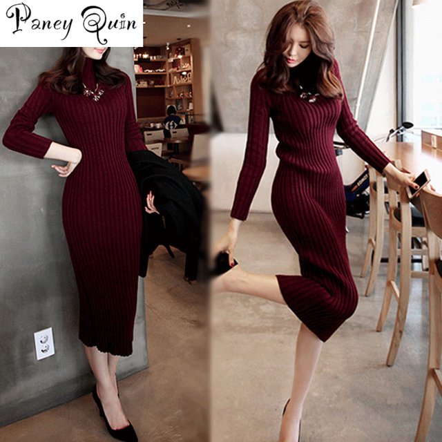 Winter Sweater Knitted long red Dresses Slim Elastic Turtleneck Long Sleeve Sexy Lady Bodycon Robe Dresses  1