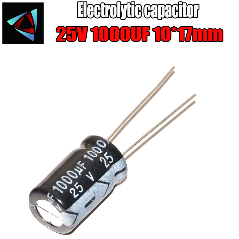 6PCS Higt Quality 25V 1000UF 10*17mm 1000UF 25V 10*17 Electrolytic Capacitor