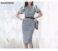 Fashion Elegant Women Office Over Knee Belt Dress 2019 Autumn Design Korea Womans Plaid Short Sleeve Zippers Slim Dress Vestidos