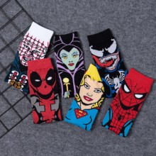 Men Socks Marvel Hero Cartoon Spide Man Captain Marvel Venom socks