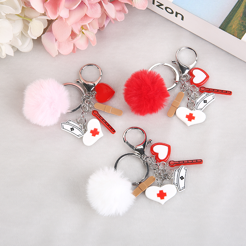 2020/2021 New Nurse Medical Box Rresin Charms Handbag Keyring With Puffer Ball Cute Keychain  Jewelry Gift