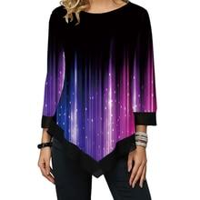 Cosmic Starlight Printing Long Tshirt 여성 불규칙한 밑단 셔츠 o 넥 여성용 쉬폰 패치 워크 티셔츠 Femme Casual Tee