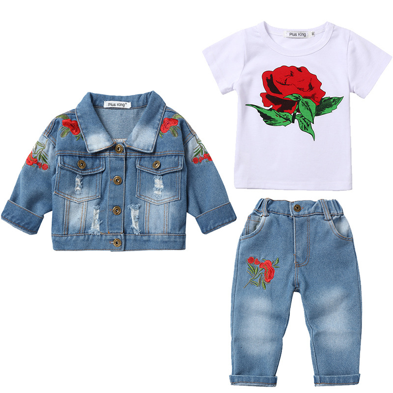 3PCS kids girls clothes birthday jacket+Tee+pants girls tracksuit outfits set