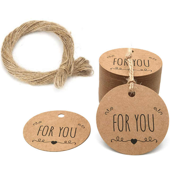 For You Tags for Favors Christmas Decorations Kraft Gift Hang Tags for Wedding Party Baby Shower Favors Present with String Jute