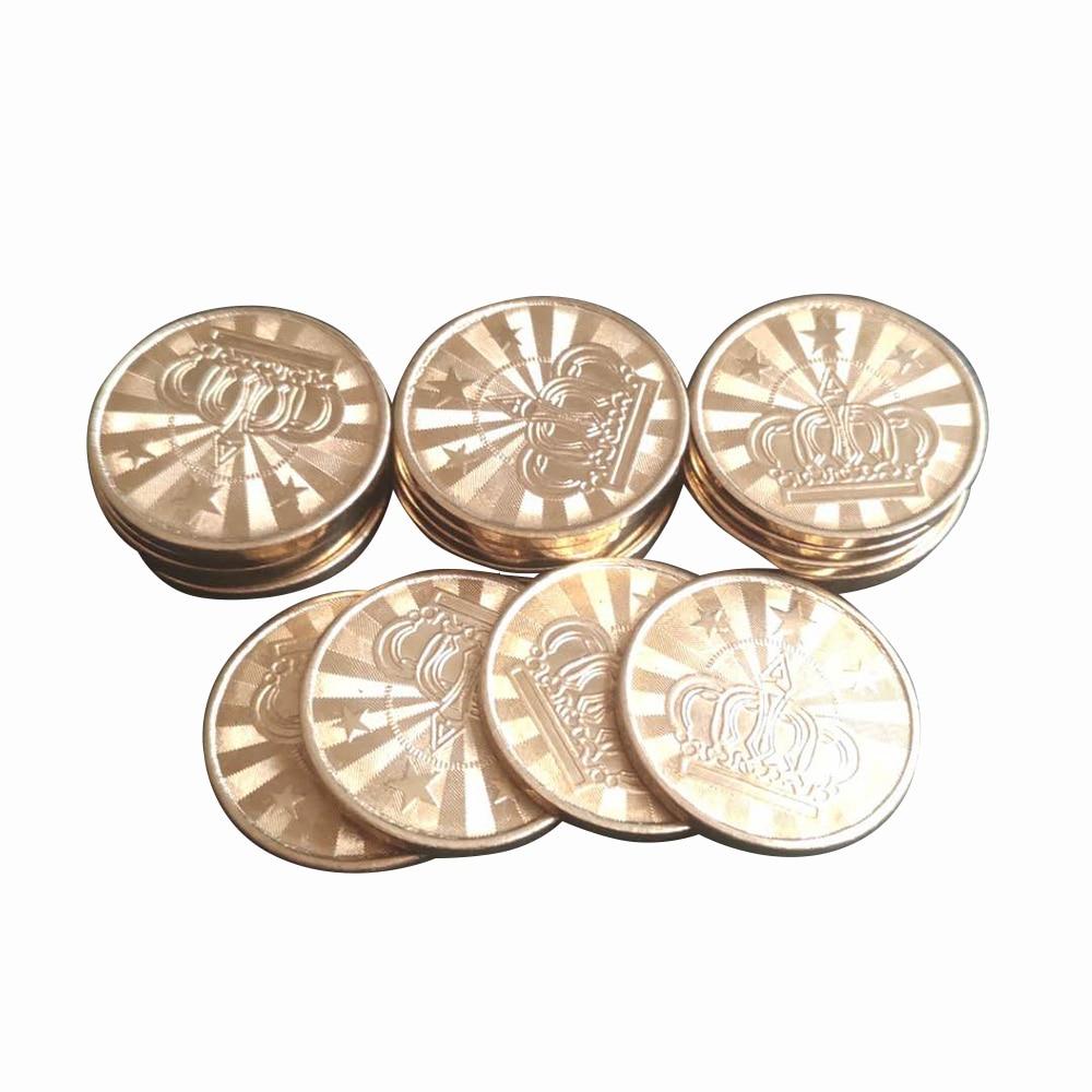 10 pces 25*1.85mm bronze máquina de venda automática token moeda arcada jogo máquina moeda pentagrama coroa token moedas