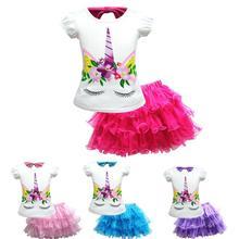 New Girl Dress Set Cartoon Unicorn Baby Girls Clothes Summer T-shirt +Tutu Skirt 2pcs Suit Princess Dresses Kids Clothes2-10Y