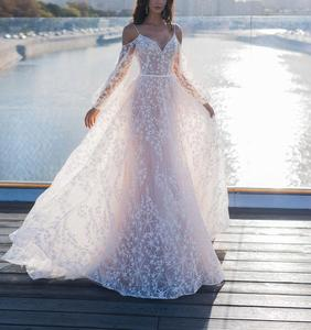 Image 3 - Элегантное шикарное свадебное платье с аппликацией в виде звезд 2020, свадебное платье трапеция на бретелях спагетти в стиле бохо