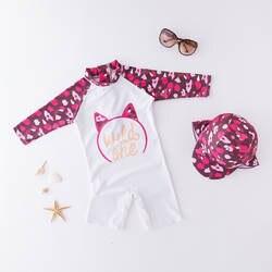 Детский жакет из денима для девочки; цельный купальный костюм с изображением кота и цветочным принтом повязка шляпа-детский осенний