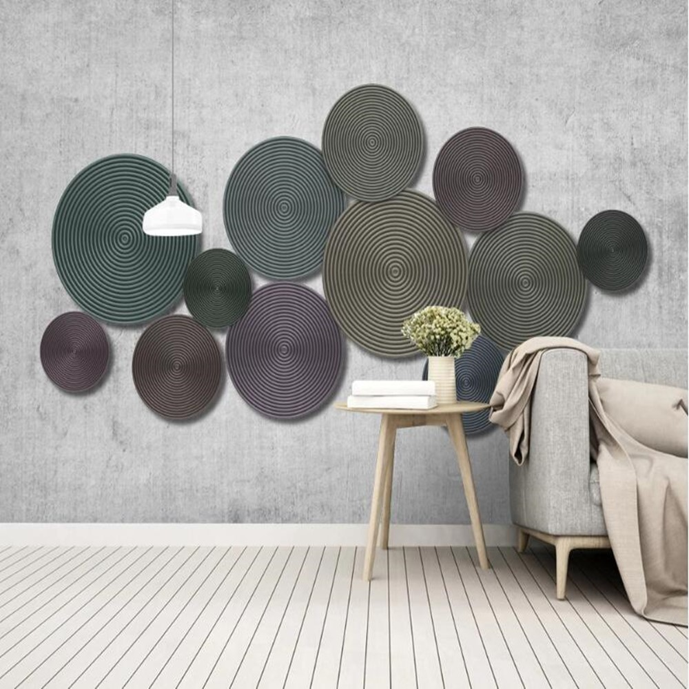 Custom 3D Abstract Zen Circle Mural TV Sofa Bedroom Background Wallpaper Mural