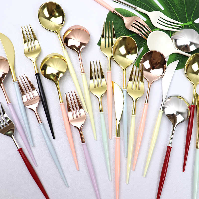 20cm knives spoons forks Disposable Party Cutlery Tableware Plastic Rose Gold/Silver Wedding Tableware Birthday Dinnerware Sets