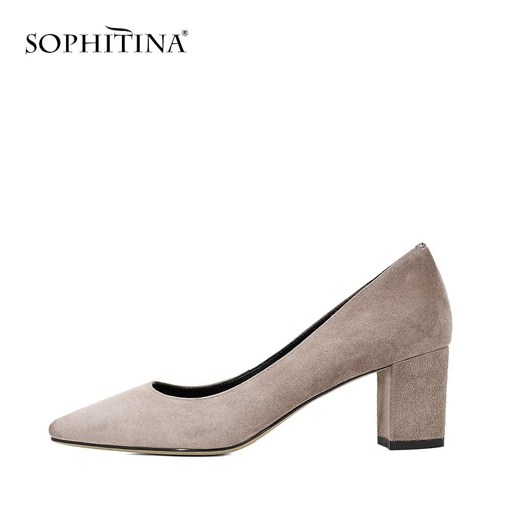 Женские туфли-лодочки из натуральной кожи SOPHITINA, пикантные туфли-лодочки с острым носком, на высоком каблуке 6 см, ручная работа, W24