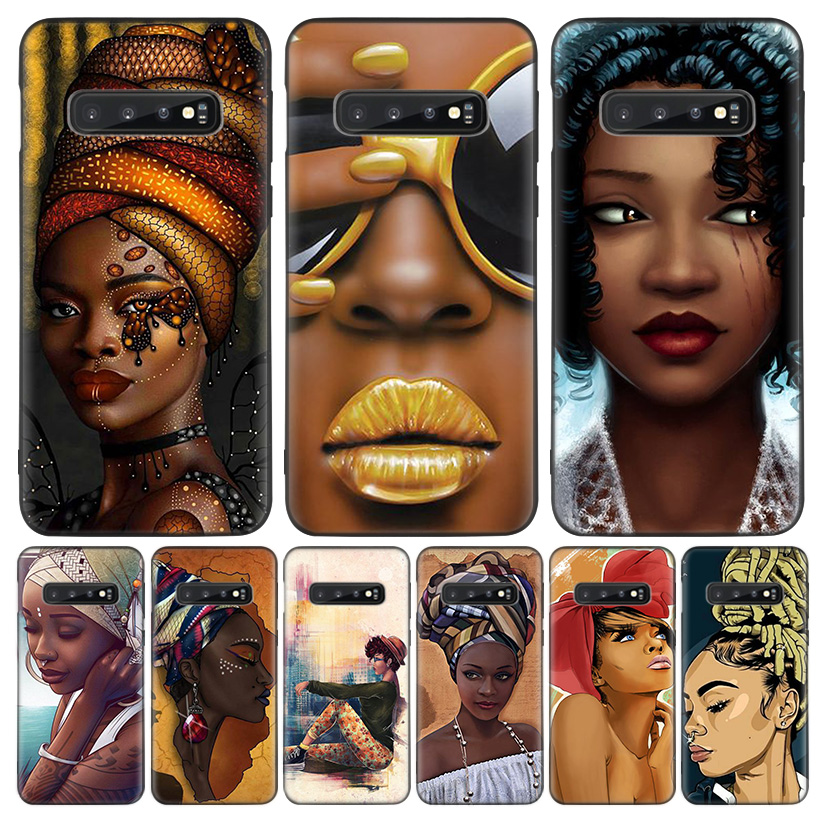 Colorful art african girl Black Cover Phone Case For Samsung Galaxy A50S A10S A20S A10 A20E A30 A40 A50 A70 M40 M30S A80 Coque S image