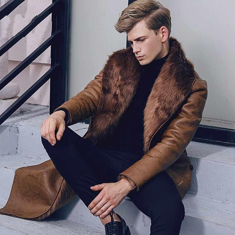 イタリア冬のビジネスの男性膝ロング Pu レザージャケット男性ダブルブレスト事務ラペル襟フェイクファー裏地コート